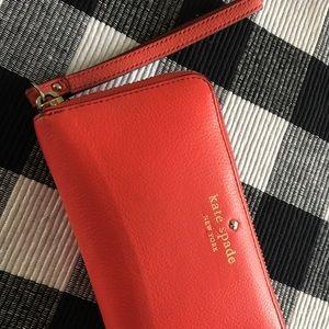 Kate Spade Clutch wallet Wristlet Orange / Pink